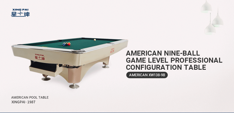 Xingpai American Pool Table XW138-9B Fancy Nine Ball Pool Table Economical Pool Table